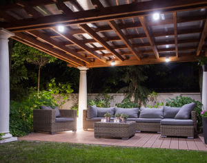 outdoor patio with landscape lighting