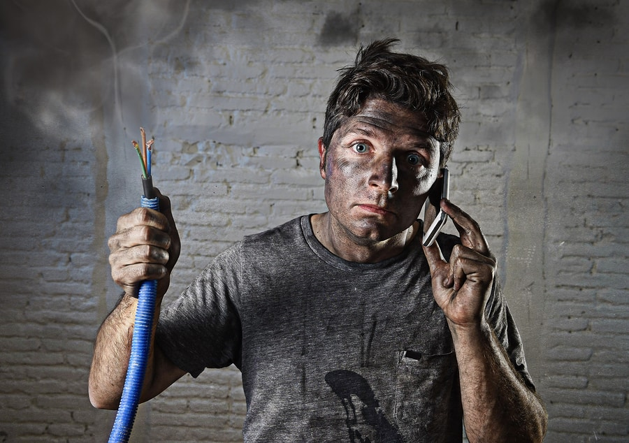 man with electrical emergency